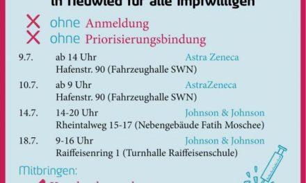 Ohne Anmeldung impfen lassen – Impfaktionen am 14. und 18. Juli in Neuwied