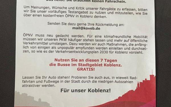 Stadt Koblenz und koveb planen keine Freifahrt-Testwoche
